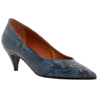 Bertie Almo Pointed Leather Court Shoes Navy Snake