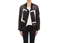 Off White C O Virgil Abloh Xo Barneys New York Women's Frame Of Mind Ma 1 Bomber Jacket Black Silver Black Silver
