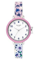 Kate Spade New York Park Row Silicone Strap Watch 34Mm Blue White Silver