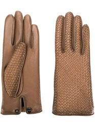 Agnelle Woven Effect Gloves Brown