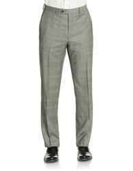 Lauren Ralph Lauren Flat Front Grid Patterned Dress Pants Grey