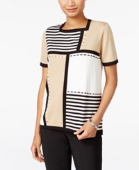 Alfred Dunner Madison Park Collection Striped Colorblocked Sweater Multi