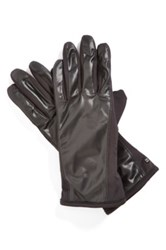 Urban Research 'Racer Back' Tech Faux Fur Lining Stretch Gloves Black