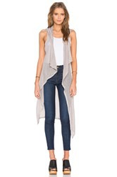 Bobi Mesh Sweater Sleeveless Long Cardigan Gray