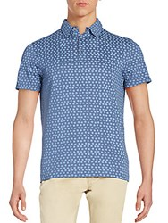 Saks Fifth Avenue Square Print Polo Shirt Indigo