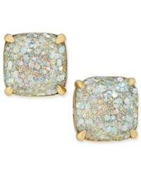 Kate Spade New York 14K Gold Plated Small Square Glitter Studs White