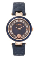 Versus By Versace Women's Covent Garden Crystal Accent Leather Strap Watch 36Mm Blue Rose Gold
