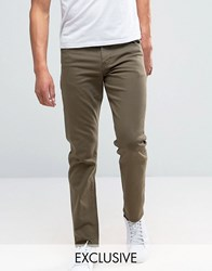 Noak Stretch Slim Jeans In Dark Khaki Khaki Green