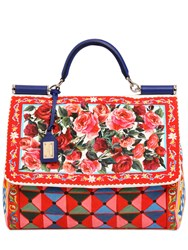 Dolce And Gabbana Large Sicily Soft Printed Canvas Bag