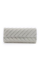 Whiting And Davis Crystal Chevron Clutch Silver