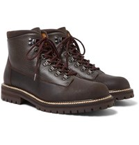 Mr P. Jacques Shearling Lined Waterproof Waxed Suede And Full Grain Leather Boots Brown