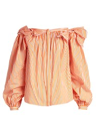 Maison Rabih Kayrouz Off The Shoulder Striped Cotton Top Orange Stripe