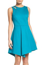 Adelyn Rae Women's Asymmetrical Ponte Fit And Flare Dress Teal
