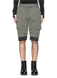 Devoa Contrast Cuff Drawstring Shorts Green