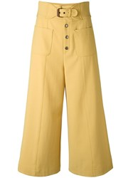 Red Valentino Cropped Wide Leg Trousers Yellow Orange