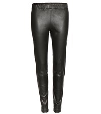 The Row Lenra Leather Leggings Grey