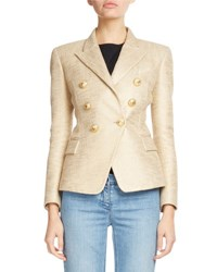 Balmain Classic Double Breasted Tweed Blazer Gold