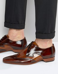 Jeffery West Leather Brogue Shoes Brown