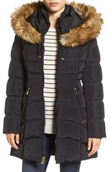Laundry By Shelli Segal Women's Hooded Down And Feather Fill Coat With Detachable Faux Fur Trim