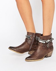 Glamorous Grey Studded Multi Chain Heeled Ankle Boots Brown Grey