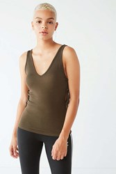 Urban Outfitters Uo Side Tie Tank Top Olive