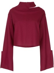Aula Cut Out Detail Jumper Red