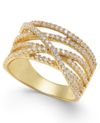Macy's Giani Bernini Cubic Zirconia Crisscross Statement Ring In 18K Gold Plated Sterling Silver Only At Yellow Gold