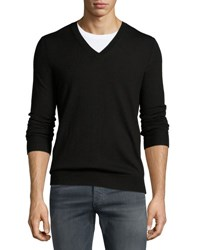 Burberry Dockley Wool V Neck Sweater Black
