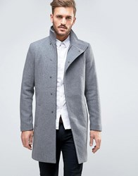 Only And Sons Asymmetric Overcoat Grey