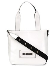 Love Moschino Logo Plaque Tote Bag White