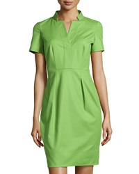Lafayette 148 New York Yaelle Short Sleeve Pleated Dress Green
