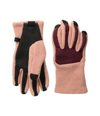 The North Face Women's Denali Etip Glove Rose Dawn Deep Garnet Red Extreme Cold Weather Gloves Beige