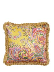 Etro Ronda Printed Cotton And Linen Pillow Yellow Orange