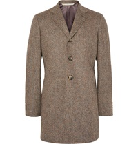 Freemans Sporting Club Slim Fit Suede Elbow Patch Wool Tweed Car Coat Brown