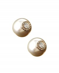 Lydell Nyc Crystal And Pearl Statement Jacket Stud Earrings