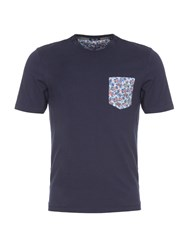 Eden Park Men's Cotton T Shirt With Floral Pocket Navy
