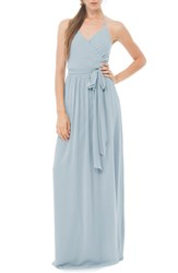 Women's Ceremony By Joanna August 'Dc' Halter Wrap Chiffon Gown Into The Mystic