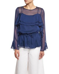 See By Chloe Long Sleeve Chiffon Ruffle Blouse Blue Night