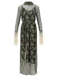 Romance Was Born Stardust Beaded Floral Lace Maxi Dress Green Multi