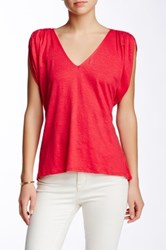 Weston Wear Abbey Lyn Linen Blend V Neck Tee Pink