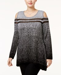 Belldini Plus Size Cold Shoulder Metallic Sweater Black Silver