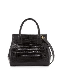 Nancy Gonzalez Loop Crocodile Small Satchel Bag Black Shiny