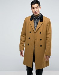 Asos Wool Mix Overcoat With Velvet Collar In Camel Camel Tan