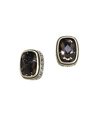 Effy Smoky Quartz Sterling Silver And 18K Yellow Gold Stud Earrings Smokey Quartz Silver
