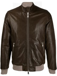 Daniele Alessandrini Zipped Leather Jacket Brown