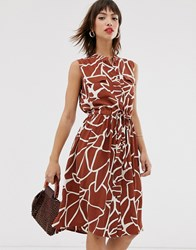 Y.A.S Sleeveless Abstract Print Dress With Utility Pockets Green