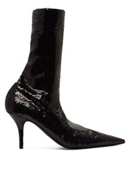 Balenciaga Knife Sequinned Booties Black