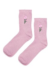 Topshop Embroidered Glitter Rose Ankle Socks Pink