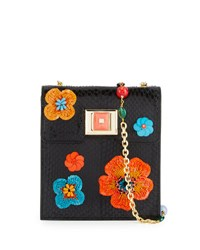 Andrew Gn Sequin Embellished Snakeskin Shoulder Bag Black Orange Multi