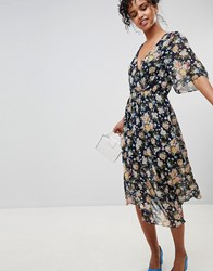 Pepe Jeans Magaly Floral Wrap Midi Dress Navy